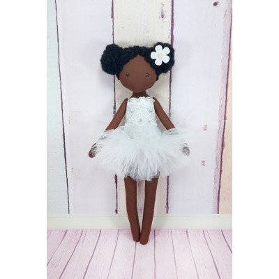 Little Black Doll In a White / Yellow Dress