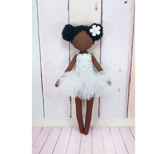 Handmade Black Dolls  In Whire Dress  Black Cloth Dolls   nilasdolls.com