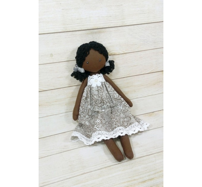 Black Doll With Curly Hair | Handmade Black Doll