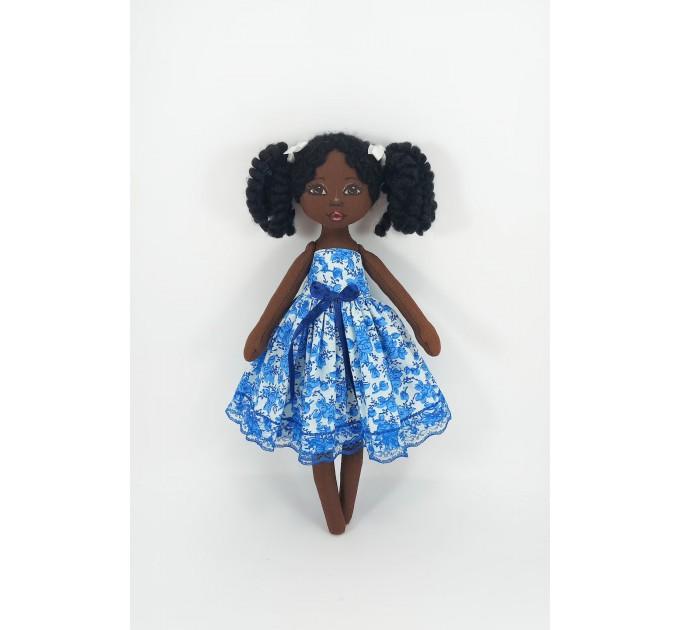 Black Doll With Curly Hair   Handmade Black Doll