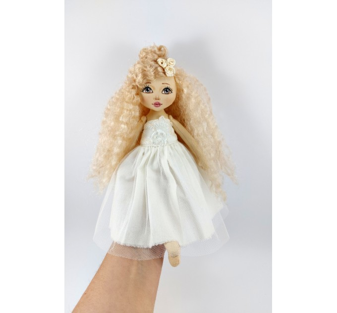 12 In Cloth Doll With A Red Hair And In White Dress