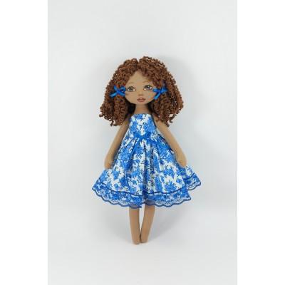 12 In Handmade Cloth Doll In A Blue Dress