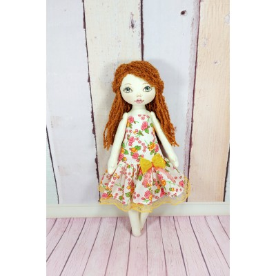 12 Inches Handmade Cloth Doll With A Red Hair