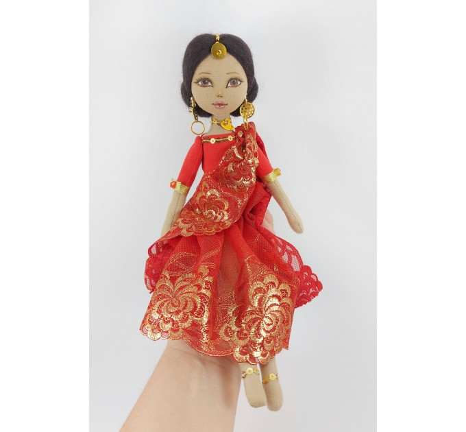 14 In Handmade Cloth Indian Doll In A Red Dress
