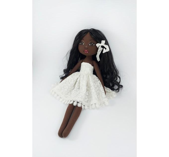 15 In Black Doll In A White Dress