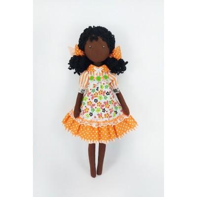 16 Inches Black Doll In A Orange Dress