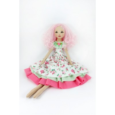 18 Inches Handmade Cloth Doll In A White Dress And Pink Hair