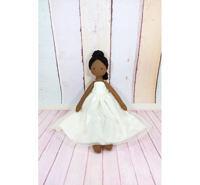Handmade Black Ballerina Doll | Handmade Cloth Doll In White Dress