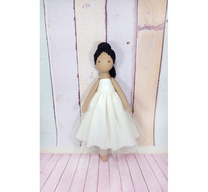 Brown Ballerina Doll In White Dress