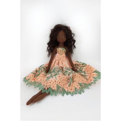 Black Cloth Doll In A Orange Dress