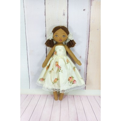 Black Fabric Doll In White Dress