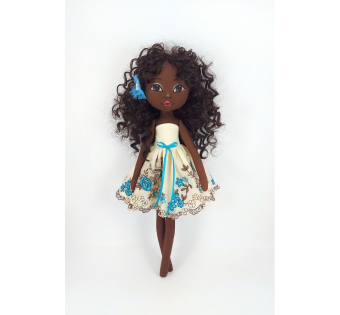 Black african Rag Doll With Curly Long Hair