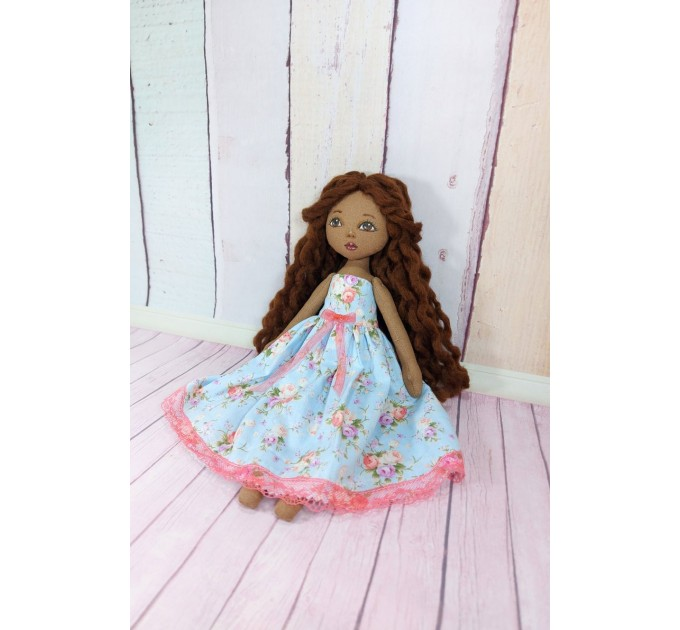 Brown Cloth Doll In A Removable Cotton Dress