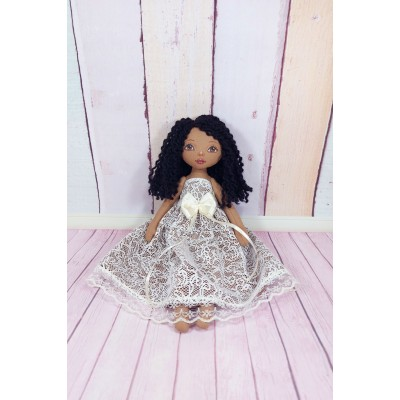 Brown Cloth Doll In A Removable Cotton White Dress