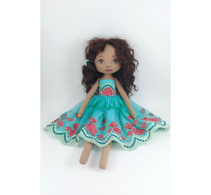 Brown Cloth Doll In A Winter Dress