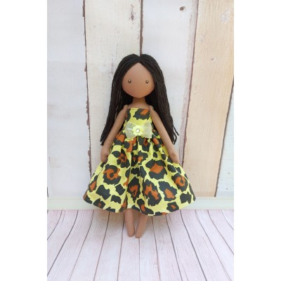 Brown Cloth Doll In Yellow Dress