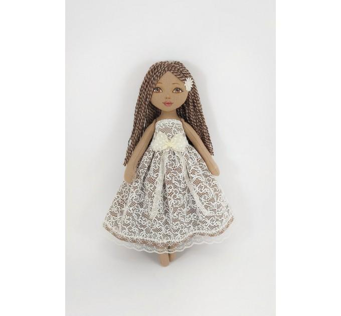 Brown Doll In A White Dress   nilasdoll.com