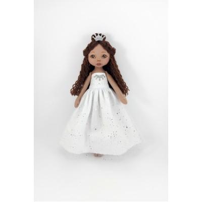 Brown Princess In A White Dress