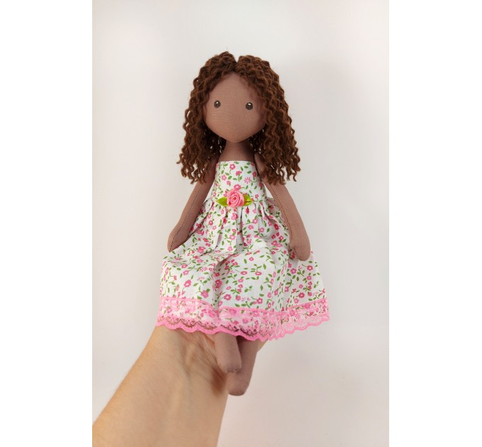 Brown Textile Doll In A Removable Cotton Dress