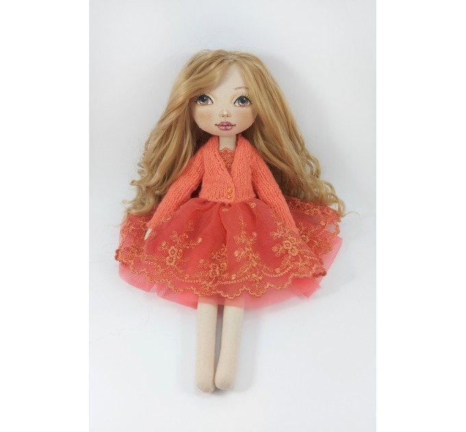 Cloth 16 Inches Doll In A Red Dress