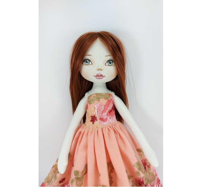 """Cloth Doll 16"""" With Long Brown Hair In A Removable Dress"""