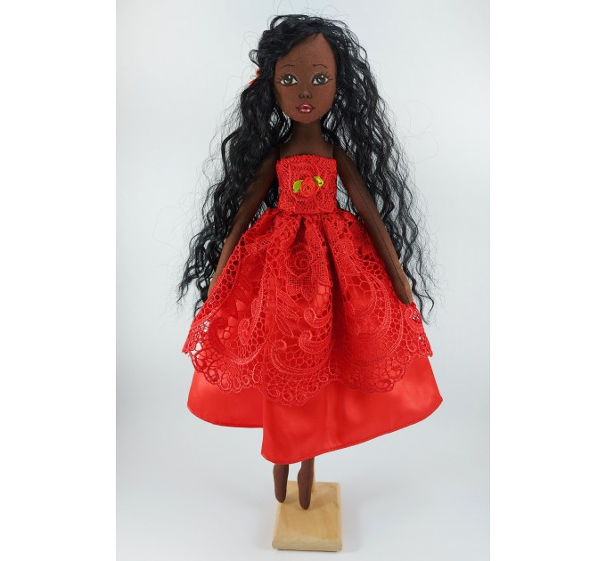 Handmade 18 In Brown Cloth Doll In A Red Dress