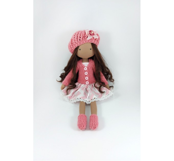 Handmade Brown Doll In A Winter Clothes