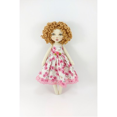 Handmade Cloth Doll In A White Dress With Pink Flowers