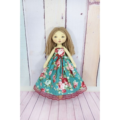 Handmade Cloth Doll In Red Dress