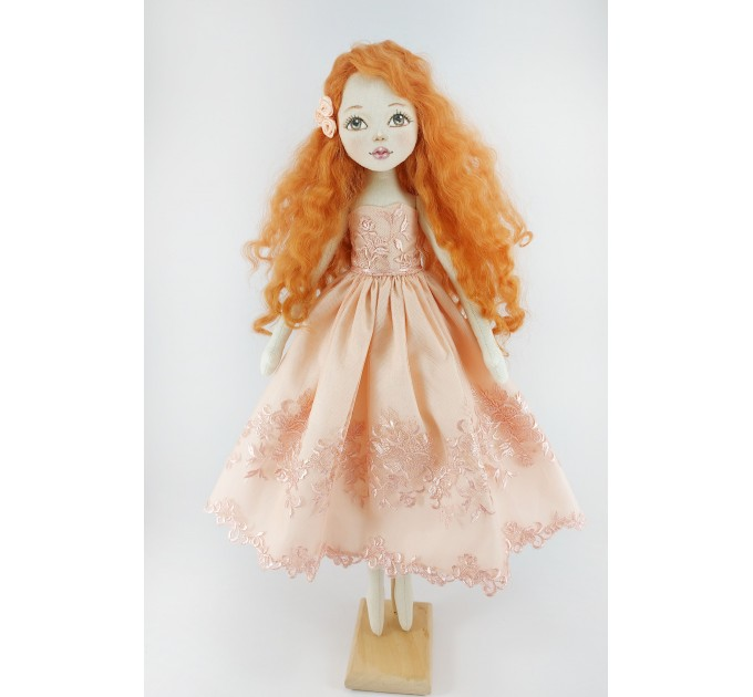 Handmade Red Doll In  A Pink Dress