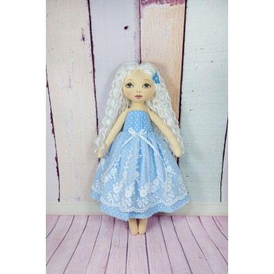 Little Cloth Princess Doll In Blue Dress