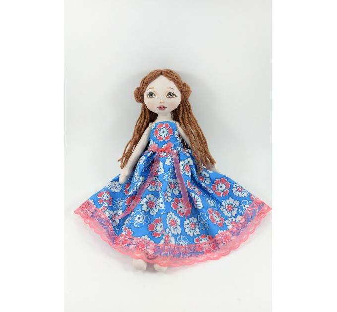 Handmade Rag Doll In A Blue Dress