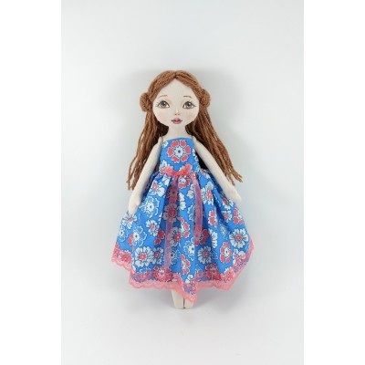White Little Cloth Doll In A Blue Dress