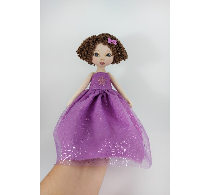 White Little Rag Princess Doll In A Violet Dress