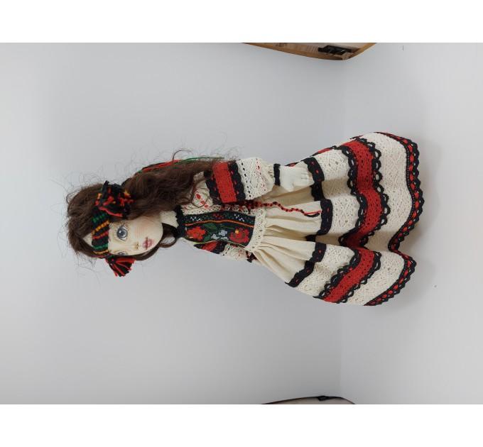 Rag Doll Mascot In A Folk Embroidered Handmade Dress