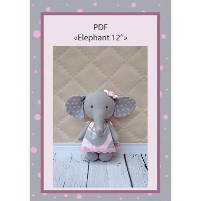 PDF Plush Elephant 12 Inches Pattern & Tutorial