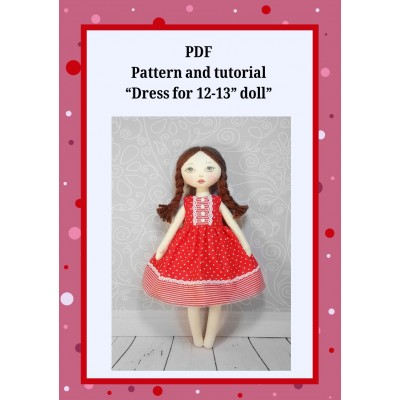 Pattern Sewing Dresses For Dolls 12-13 Inches