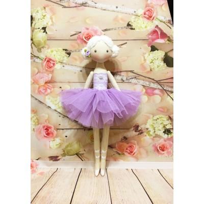 Handmade Ballerina Doll In Violet Dress